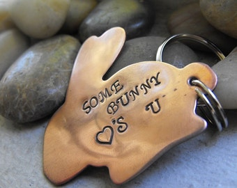 Bunny Love Keychain, Some bunny loves you, Easter gift, Rabbit owner