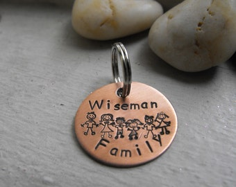 FAMILY Keychain Copper 1inch with new stick family stamps