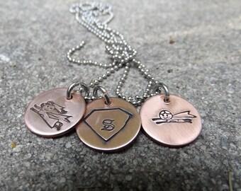 Super Kid pendant,  Cute super hero, Little super hero, Pendant for a Super Kid, Copper custom pendant, Personalized shield pendant