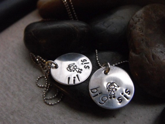 Big Sister And Little Sister Necklaces  OOAK