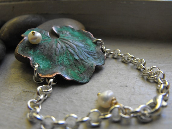 Lilly Pad patina bracelet with white freshwater pearl, Ready to ship