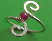 Adjustable Small Genuine Ruby and Sterling Silver Swirl Ring