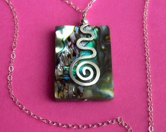 Sterling Silver and Rainbow Abalone Shell Necklace