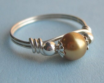 Sterling Silver and Gold Swarovski Pearl Wire Wrapped Ring