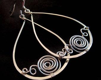 Sterling Silver Swirled Teardrop Hoop Earrings