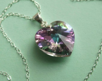 Sterling Silver and Large Swarovski Light Vitrail Heart Necklace