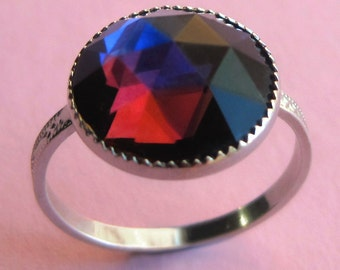 Vintage Sterling Silver and Preciosa Glass Ring in Size 6, 5, 4 or 3