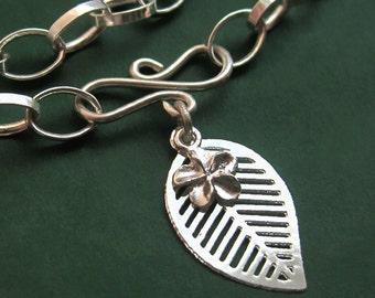 Sterling Silver Infinity Leaf Charm Bracelet