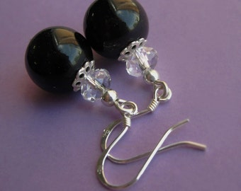 Midnight Ball -- Sterling Silver, Crystal and Jet Glass Ball Earrings
