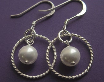 Twisted Sterling Silver and Swarovski Pearl Double Circle Earrings