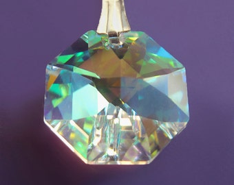 Swarovski Crystal Rainbow Chip and Sterling Silver Necklace