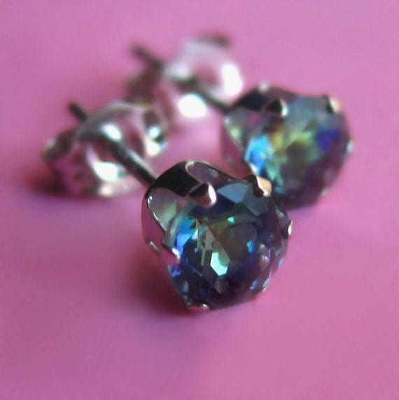 Small 14K White Gold and Blue Fire Mystic Topaz Studs