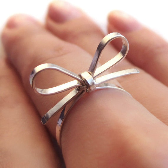 Skinny Sterling Silver Forget Me Knot Bow Tie Ring