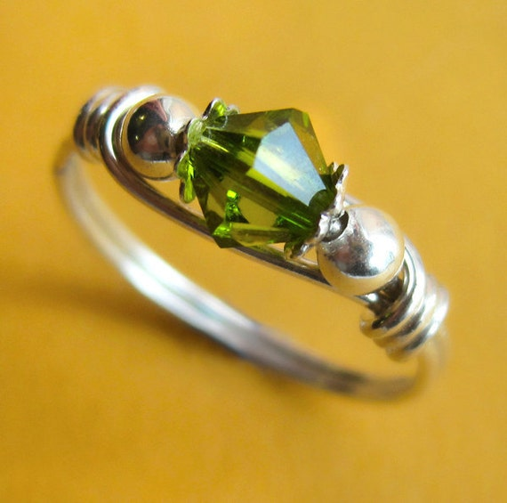 Sterling Silver and Olive Green Swarovski Crystal Wire Wrapped Ring