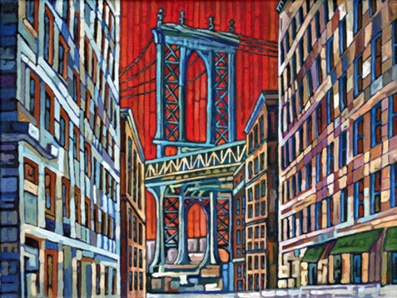 Manhattan Bridge Print, DUMBO view, NYC Bridge art, New York City, 5x7, by Anastasia Mak