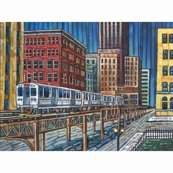 Chicago El Train 5x7 Art Print by Anastasia Mak