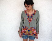 Vintage 70s Hippie Embroidered Blouse
