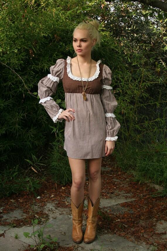 Vintage 70s Young Edwardian Brown Folk Dress