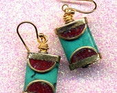 Nepalese Earrings, Tibet Earrings, Coral Turquoise Earrings, Nepal Beads on 18K gold filled wire, Nepal Jewelry by AnnaArt72 - Annaart72