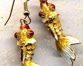 Gold Fish Earrings SALE,  Koi Fish Earrings, Fish Earrings, Cloisonne Earrings by AnnaArt72