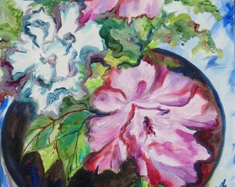 Fantasy About Petunia, Original Oil on Canvas, Floral Painting, Original Art by AnnaArt72