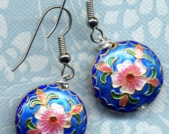 Cloisonne Earrings with  Flower Pattern. Blue Floral earrings, Handmade Jewelry by annaart72