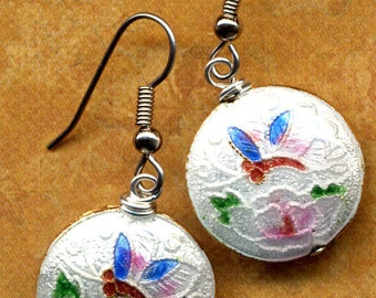 Cloisonne Earrings with Dragofly and Flower. Cloisonne Earrings. Floral Earrings. Handmade Jewelry by AnnaArt72