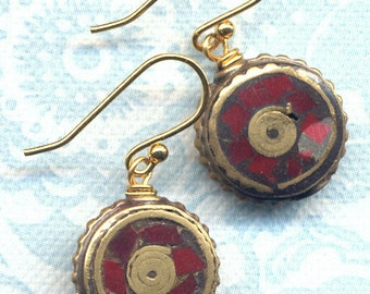 Nepal Earrings,Tibet Coral Earrings, Ethnic Earrings,Nepal Beads on 18K Gold Filled Wire, Nepal Jewelry by AnnaArt72