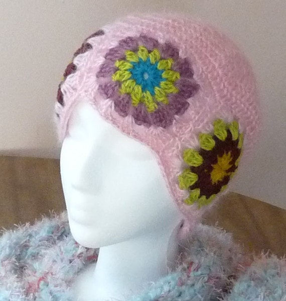 OOAK Handmade Flower Patchwork Pink Hat made with Vintage Mohair yarn SALE