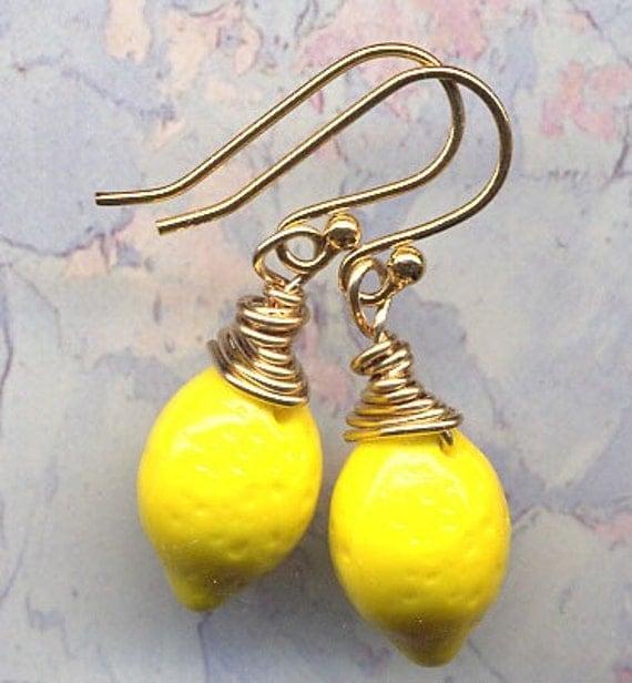 18K Gold Filled Lemon Earrings. Garden of Eden Earrings. Lemon Earrings. Jewelry by AnnaArt72