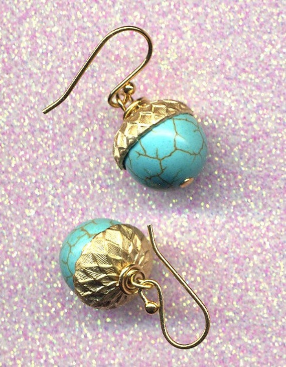 Acorn Earrings with Magnesite 18K gold filled ear wire