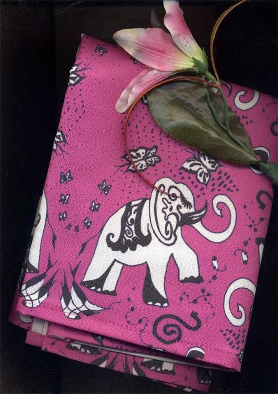 Linen Cotton Tea-towel.Good Luck Elephants in Raspberry Pink. Original Art Work of Mine)