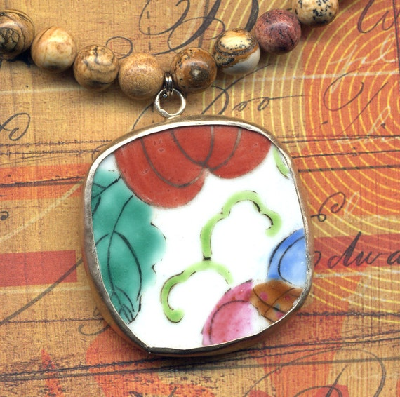 Red and Blue Antique Porcelain Pendant on a Jasper Necklace | Ceramic Handmade Jewelry by AnnaArt72
