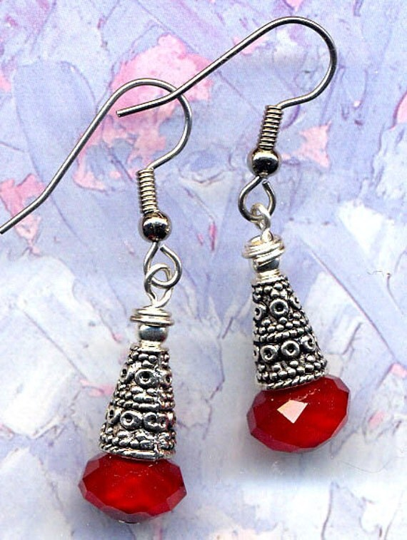 Wine Cherry Earrings,Cherry Red Earrings,Tribal  Earrings, Red Earrings, Surgical Steel Earrings, Handmade Jewelry by AnnaArt72