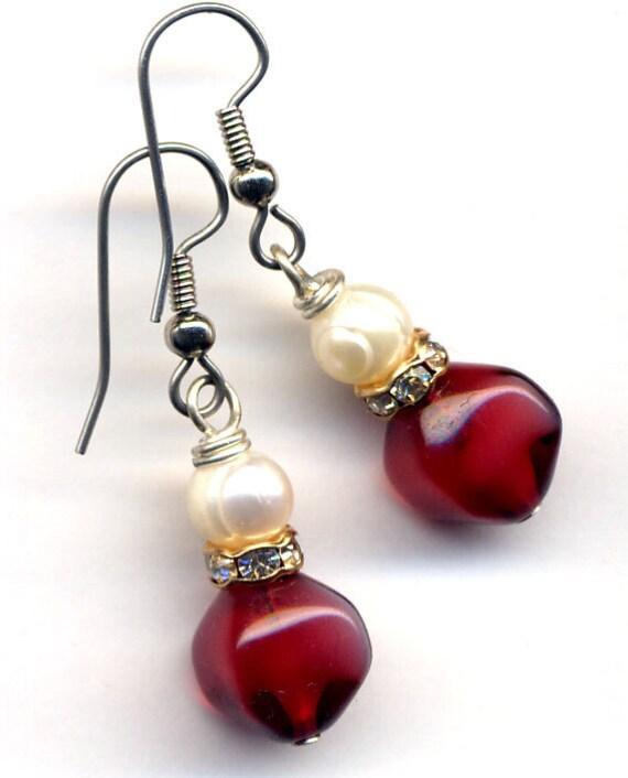 BB's Beauties new Earrings  line  .... Deep Red)))) chooose Your pair)) SALE