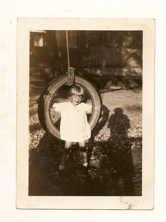 vintage photo Pretty Little Girl on Tire Swing Shadow Photographer 1929