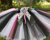 Lil' Wild One Custom Sewn Tutu, Black, White, and Pink Zebra Theme Tutu, Sizes 3 - 7, up to 12 inch length