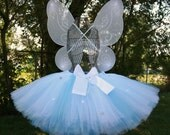 Winter Magic Angel Set, includes White Angel Wings and White and Blue Custom Sewn Tutu, For Sizes 2 - 7, Great Accessory for Dress Up, Halloween, Photos, Birthdays, Faires