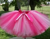 A Divalicious Tutu, Sewn Custom Pink Diva Tutu, Sizes 3 - 7,   up to 12 inch length