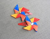 Primary Pinwheel Hair Snaps, Blue, Red, Yellow, and Orange Clippies, Hair Clips