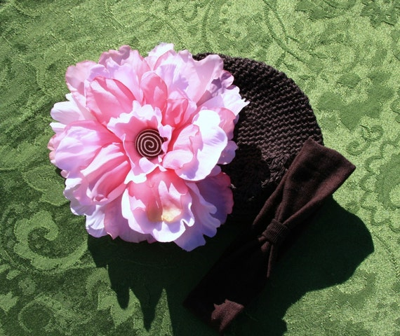 Sweet Cupcake Peony Beanie, Pink Peony hair clip with Brown Hat and Headband,  Sizes NB - 9mo, Great Accessory for Portraits, Birthdays, Parties, Tutus