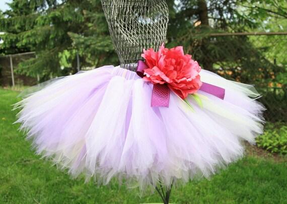 Berry Blossom Garden Fairy Tutu, Custom Sewn Soft Purple, Light Yellow, and Mint Tutu,  Sizes 3T - 7, Up to 12 inch length