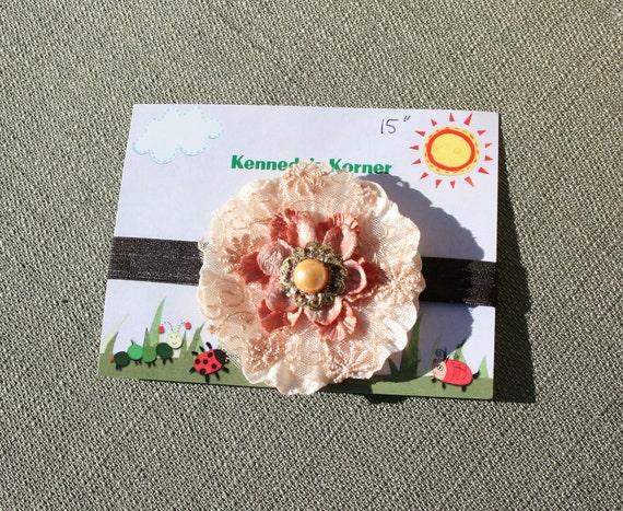 Milk Chocolate Flower Headband, Fabric Flower on Brown Elastic FOE Headband, SZ 3mo - 3yo