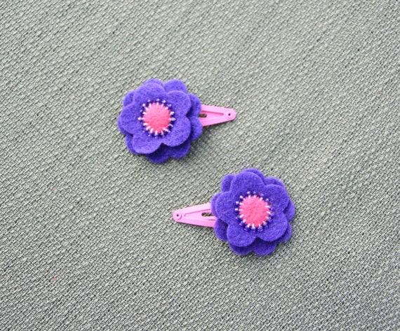 SALE-- Bitty Purple Princess Hair Snaps, Hair Clips, Barrettes