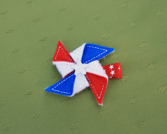 Yankee Doodle Pinwheel Clippie, Red, White, and Blue Pinwheel Hair Clip