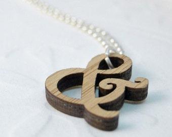 Mini Harrington Ampersand Necklace in bamboo
