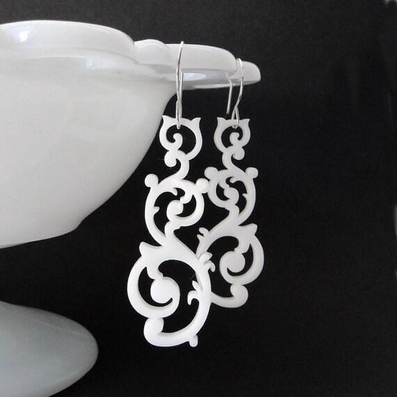 Swirl Earrings in white