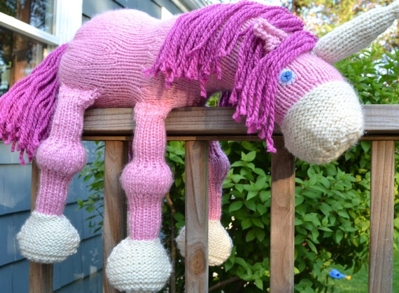 Hand Knitted Unicorn- Bright Pink