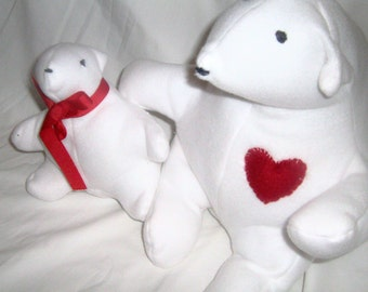 """2 Washable Fleece Stuffed Animal White Polar Bears """"Love"""" and """"Baby Love"""" Adult and Baby Bear Red Heart Red Ribbon"""
