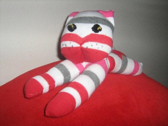 Red, White, Gray Striped Kitty Sock Monkey Style Stuffed Animal Cat Kitten